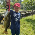 Mike Kroetsch of Kitchener was fishing with his son, Owen, at their local club when Owen hooked into the biggest fish he ever caught. Yay, Owen!