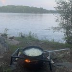 Steve Servinis of Markham enjoyed a beautiful morning on Three Mile Lake and then an evening fish fry with duck friends.